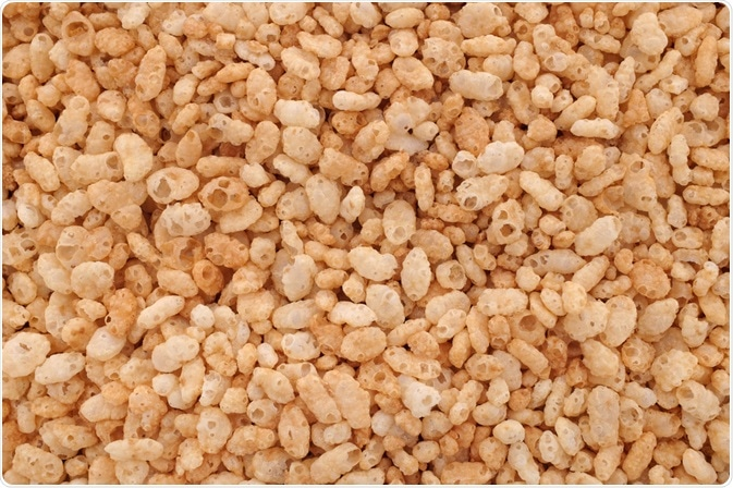 Hot melt extrusion can be used to create puffed cereals such as the puffed rice shown here.