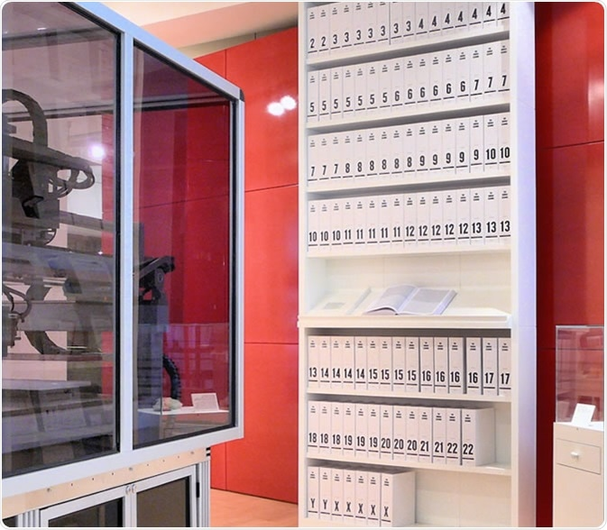 The first printout of the human genome to be presented as a series of books, displayed at the Wellcome Collection, London