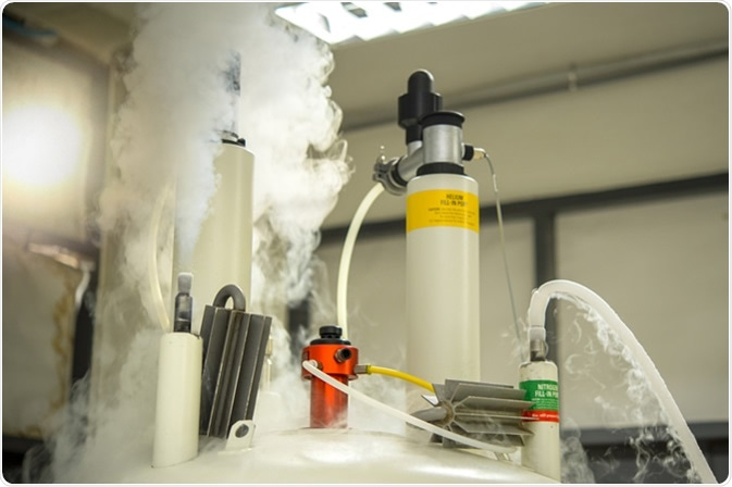 Scientists are adding nitrogen to the Nuclear magnetic resonance spectroscopy (NMR) to keep the temperature cool and to prevent volatile helium gas (He). Image Credit: Rabbitmindphoto / Shutterstock