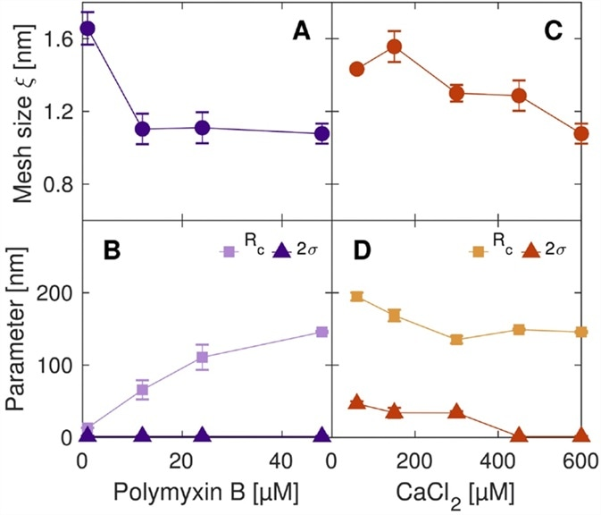 Structural parameters of the microgels, extracted from the SAXS data as a function of the amount of peptide-loaded (Polymyxin) and crosslinker (CaCl2) respectively.