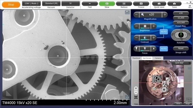 The left side shows an SE image of the inside of a watch, bottom right shows the optical image with overlayed SEM images from areas that have been imaged.