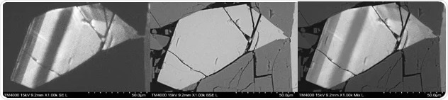 Sample: Coarse-grained Syenite with zonation in the alkali feldspar. Left: CL image; Middle: BSE image; Right: Mixed CL and BSE. Small variations in Ca and Na content create CL contrast, hardly visible in the BSE image.
